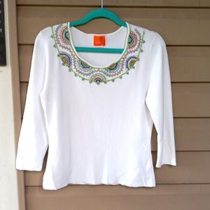 Hearts of Palm  womens lg white top with beading long sleeve